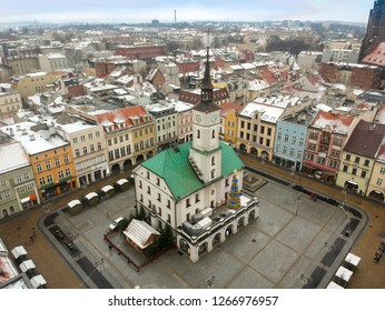 Aerial drone view on Townhall and Traditional street market in Gliwice, Poland - Image