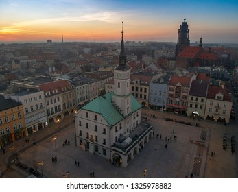 Aerial drone view on Townhall and Traditional street market in Gliwice at sunset, Poland.