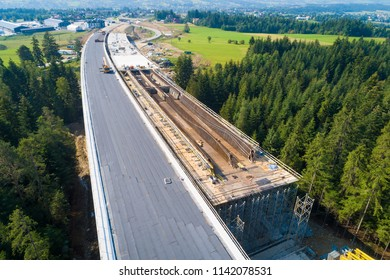 Aerial drone view on viaduct under construction. Construction of the viaduct on the national road number 7 in Poland