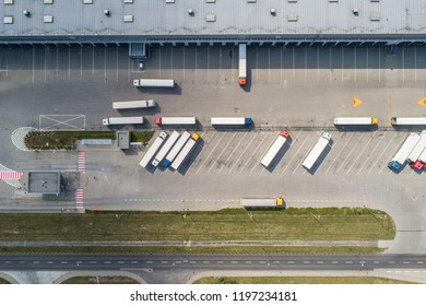 Aerial drone view on warehouse and logistic center. Logistic and transport concept