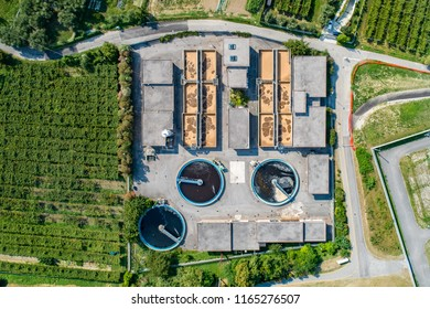 Aerial drone view on water treatment plant at summer. Wastewater treatment