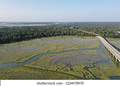 Aerial drone view over the marshes of Hilton Head Island in South Carolina