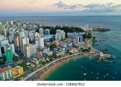 Aerial Drone View of Porto da Barra Beach in Salvador Bahia Brazil