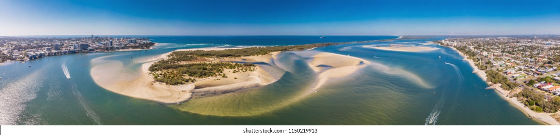 Aerial drone view of Pumicestone Passage, Bribie Island and Caloundra, Sunshine Coast, Queensland, Australia