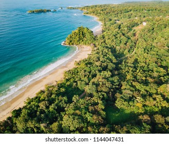 Aerial Drone view of Red Frog Beach in Bastimentos island bocas del toro Panama