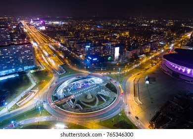 Aerial drone view of roundabout in Katowice at night. Silesia, Poland
