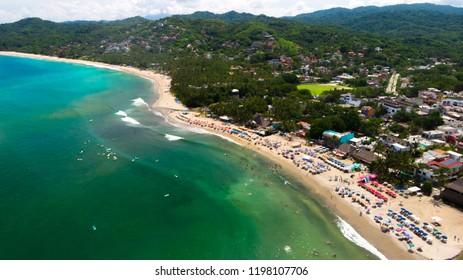 Aerial drone view of Sayulita Beach in Nayarit, Mexico.