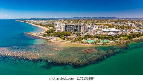 Aerial drone view of Settlement Cove Lagoon, Redcliffe, Brisbane, Australia