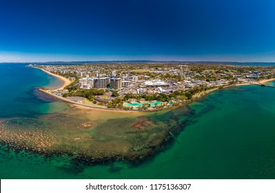 Aerial drone view of Settlement Cove Lagoon, Redcliffe, Brisbane, Australia