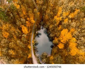Aerial drone view of Seven Lakes in Bolu Turkey. Yedigoller, Bolu