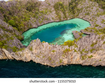 "Aerial drone view of ""Shark Lagoon"" on Cock Comb Island in the Mergui Archipelago, Myanmar"