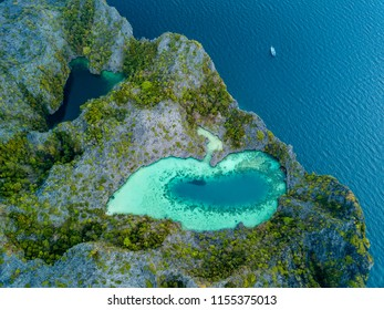 """Aerial drone view of """"Shark Lagoon"""" on Cock Comb Island in the Mergui Archipelago, Myanmar"""