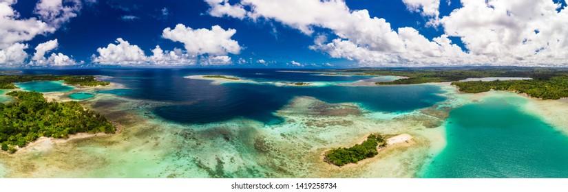 Aerial drone view of small islands and lagoons, Efate Island, Vanuatu, near Port Vila