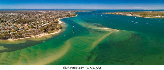 Aerial drone view of south part of Bribie Island, Sunshine Coast, Queensland, Australia