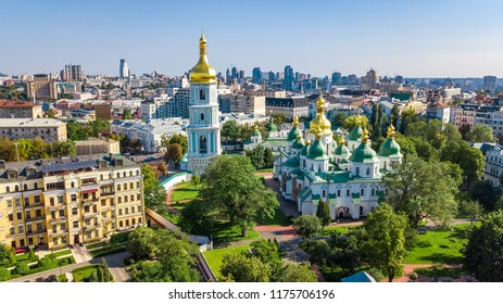 Aerial drone view of St Sophia cathedral and Kiev city skyline from above, Kyiv cityscape, capital of Ukraine