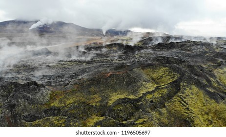 Aerial drone view of steaming lava fields in Kafla, Iceland