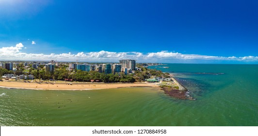 Aerial drone view of Suttons Beach, Redcliffe, Queensland, Australia