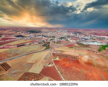 Aerial drone view of village in the mountian. Spain. Europe