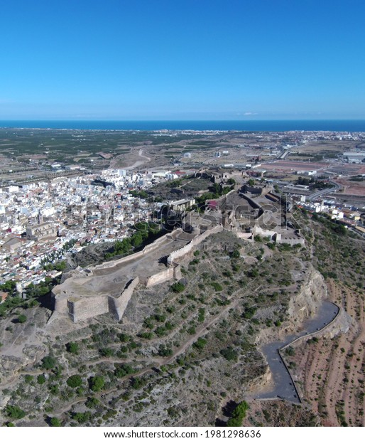 Aerial drone view in village of Spain