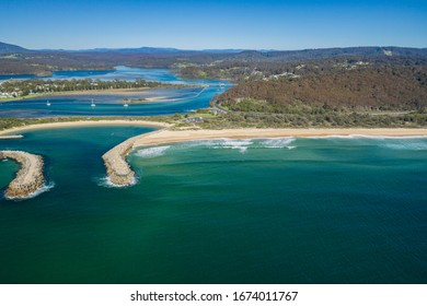 Aerial drone view of Wagonga Head and Wagonga Inlet at Narooma on the New South Wales South Coast, Australia, on a sunny day
