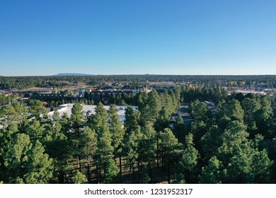 Aerial drone view of winter noon and evening at Flagstaff, Arizona, USA