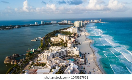 Aerial Drone View of Zona Hotelera Cancun Mexico