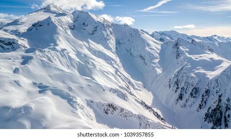 Aerial Droneshot Alpes in Winter - Glacier Hintertux