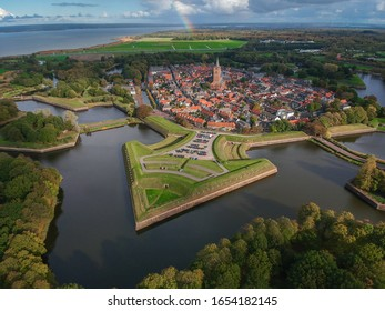 Aerial / droneview of Naarden's star shaped fortress