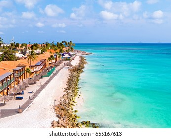 Aerial from Druif beach on Aruba island in the Caribbean