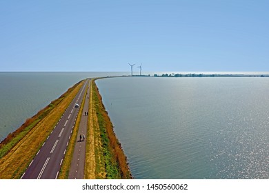 Aerial from the Dyke to Marken in the Netherlands