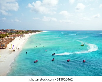 Aerial from Eagle beach on Aruba island in the Caribbean Sea