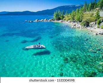 Aerial of Emerald Bay, Lake Tahoe, Nevada