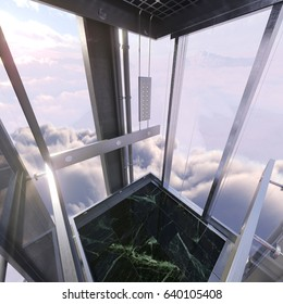aerial evening sky view from empty elevator car concept business up success photo