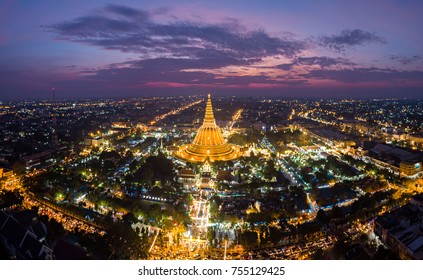 Aerial evening sunset shot of Phra Pra Thom Che Di in Nakorn Prathom the Land mark of this province, main attraction near Bangkok, Thailand. Historical religious place in the period of the annual fair