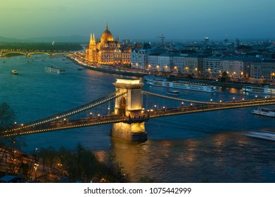 Aerial evening view of Budapest and the Danube river from Gellert hill