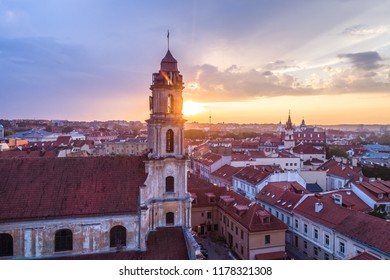Aerial evening view of Church of Blessed Virgin Mary of Consolation and light of God in Vilnius old town, Lithuania