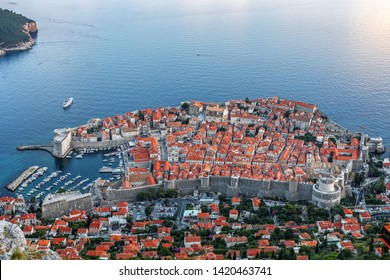 Aerial evening view of the Dubrovnik city, in Dalmatia region of Croatia.