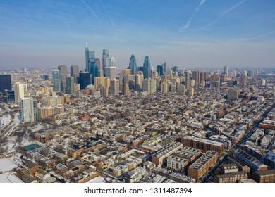 Aerial far shot of Philadelphia taken with a drone