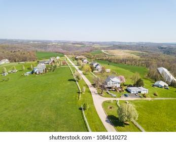 Aerial of Farmland in Fawn Grove/ Delta, Pennsylvania