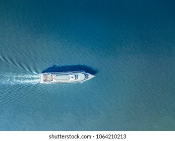 aerial ferry in the sea on a sunny day blue water isolated