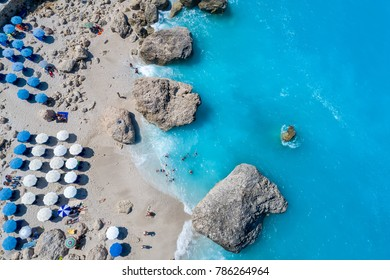 Aerial flight with drone over famous beach of Kavalikefta on the island of Lefkada in the Ionian Sea in Greece