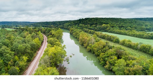 Aerial flight over the Spring River next to the BNSF railroad in Hardy, Arkansas