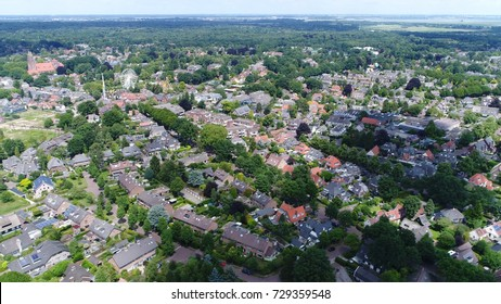 Aerial flight photo of small town in Netherlands Laren is municipality and town Netherlands in province of North Holland located in region called Gooi it is the oldest town in that area 4k