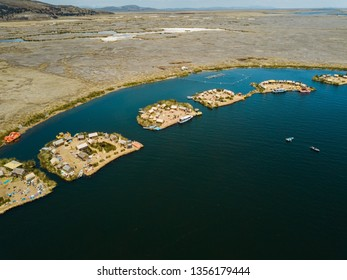 Aerial of floating islands of Uros in lake Titicaca