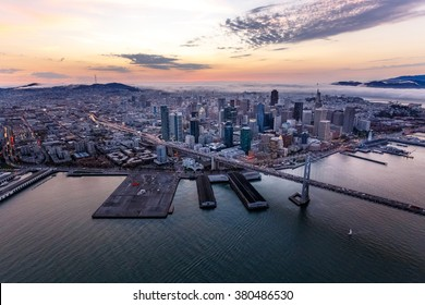 Aerial of foggy San Francisco at sunset
