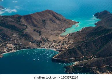 Aerial Footage of California Tropical Island (Catalina Island) Two Harbors
