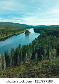 Aerial footage of swedish pine forrest with a river