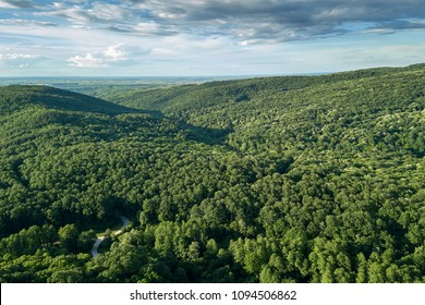 Aerial forest scenery European Forest. Beautiful mountain landscape, with mountain peaks covered with forest.