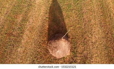 Aerial Fotage over haystack in Europe Drone footage  over haystack in Romania