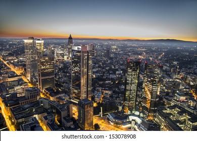 aerial of Frankfurt am Main by night